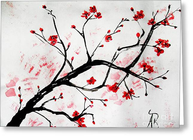 Cherry Blossoms Paintings Greeting Cards - Cherry Blossom Love Greeting Card by Andrea Realpe