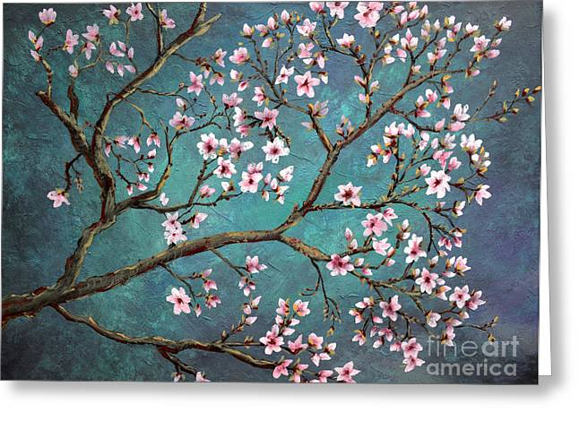 Van Gogh Style Paintings Greeting Cards - Cherry Blossom Greeting Card by Nancy Bradley
