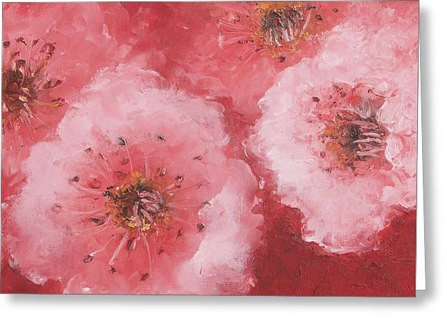 Bedroom Art Greeting Cards - Cherry Blossom on rich red background Greeting Card by Jan Matson