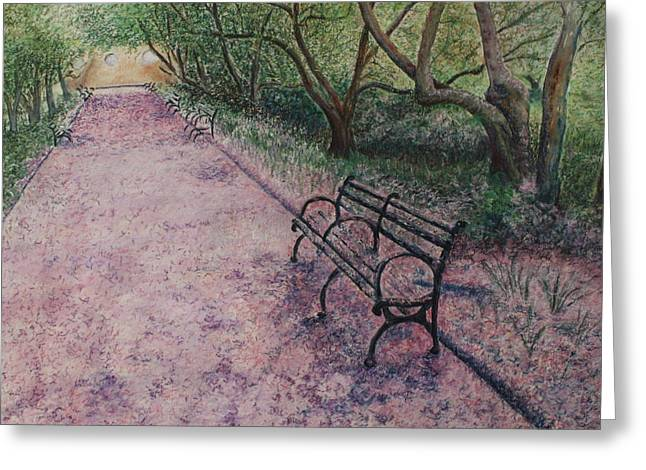 Pinks And Purple Petals Greeting Cards - Cherry Blossom Pathway Greeting Card by Patsy Sharpe