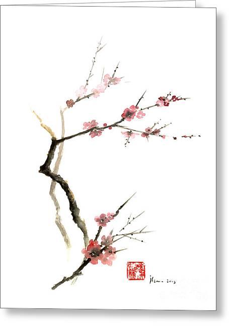 Cherry Blossoms Paintings Greeting Cards - CHERRY Blossom Sakura Flowers Pink Red White Brown Black Tree Flower Watercolor Painting Greeting Card by Johana Szmerdt