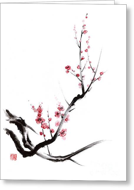 Cherry Blossoms Paintings Greeting Cards - Cherry blossom spring flower. Greeting Card by Mariusz Szmerdt