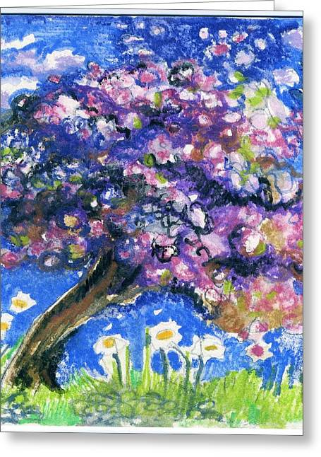 Cherry Blossoms Pastels Greeting Cards - Cherry Blossom Spring. Greeting Card by Wendy Le Ber
