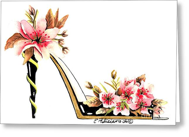 Cherry Blossoms Paintings Greeting Cards - Cherry Blossom Stiletto  Greeting Card by Elena  Feliciano