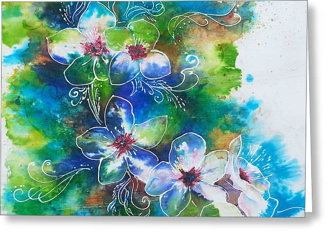 Cherry Blossoms Paintings Greeting Cards - Cherry Blossom Tree Greeting Card by Christy  Freeman