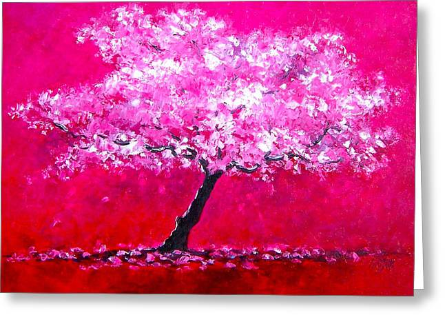 Cherry Blossoms Paintings Greeting Cards - Cherry Blossom Tree Greeting Card by Jan Matson