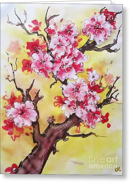 Blossoming Tapestries - Textiles Greeting Cards - Cherry blossom Greeting Card by Violetta Kurbanova