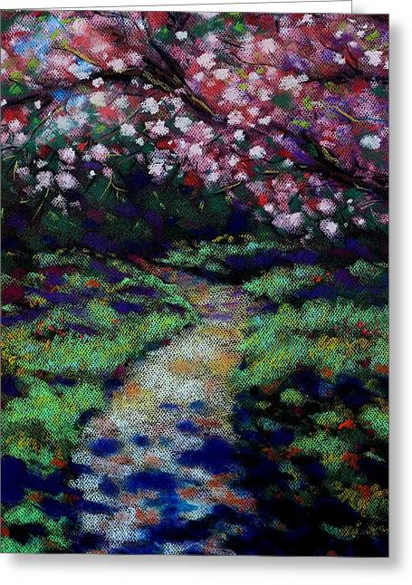 Canvas Pastels Greeting Cards - Cherry Blossom Walk  Greeting Card by John  Nolan