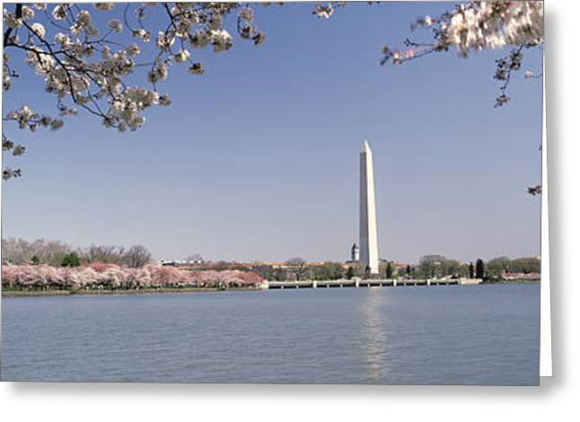 Flower Memorial Photography Greeting Cards - Cherry Blossom With Monument Greeting Card by Panoramic Images