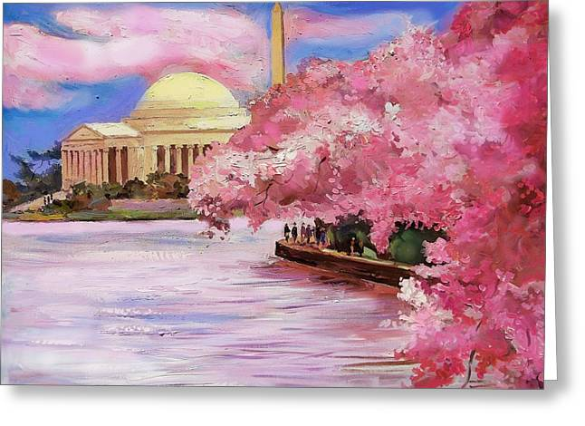 Cherry Blossoms Paintings Greeting Cards - Cherry Blossom.Jeff and Wash memorials. Greeting Card by Zachary Sasim
