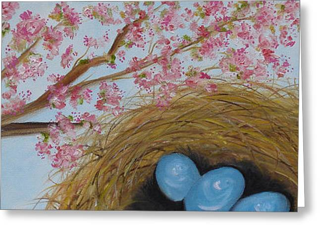 Cherry Blossoms Paintings Greeting Cards - Cherry Blossoms and Robins Nest Greeting Card by Judith Rhue