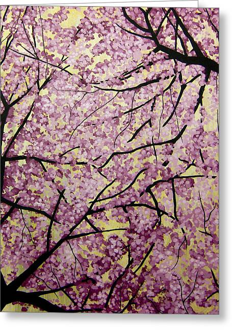 Cherry Blossoms Paintings Greeting Cards - Cherry Blossoms Greeting Card by Bobby Zeik