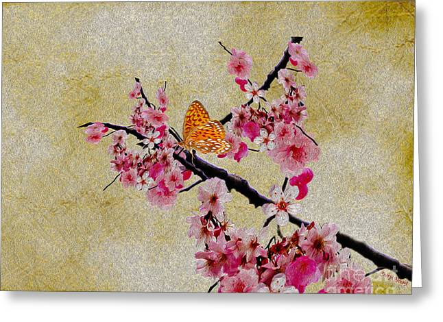 Reception Room Greeting Cards - Cherry Blossoms Greeting Card by Cheryl Young