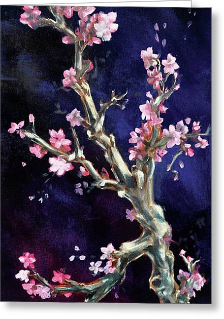 Cherry Blossoms Paintings Greeting Cards - Cherry Blossoms Greeting Card by Eve McCauley