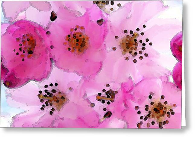 Large Digital Greeting Cards - Cherry Blossoms - Flowers So Pink Greeting Card by Sharon Cummings