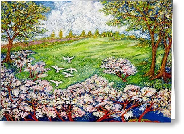 Himmel Mixed Media Greeting Cards - Cherry Blossoms Greeting Card by Gunter  Hortz