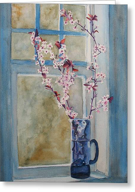 Cherry Blossoms In A Blue Pitcher Greeting Card by Jenny Armitage