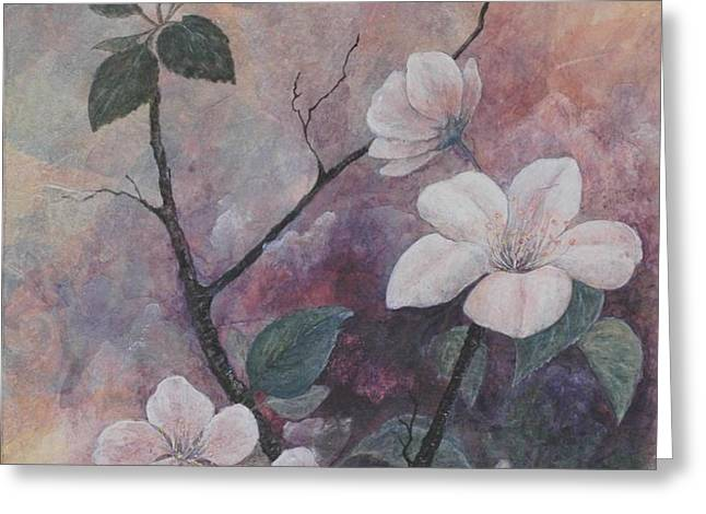 Cherry Blossoms in the Cosmos Greeting Card by Sandy Clift