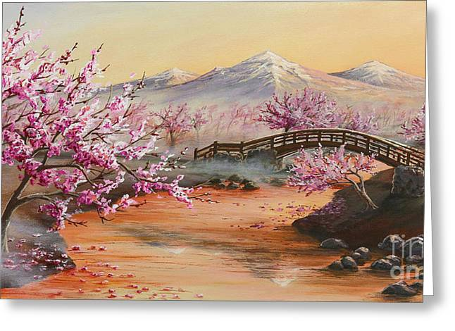 Blossoming Cherry Tree Greeting Cards - Cherry Blossoms in the Mist Greeting Card by Joe Mandrick