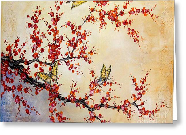 Cherry Blossoms Paintings Greeting Cards - Cherry Blossoms Greeting Card by Jean Plout