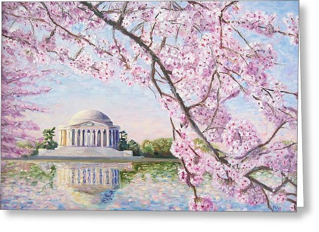 Jefferson Paintings Greeting Cards - Jefferson Memorial Cherry Blossoms Greeting Card by Patty Kay Hall