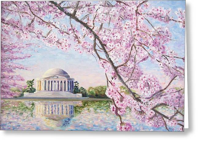 Jefferson Memorial Greeting Cards - Jefferson Memorial Cherry Blossoms Greeting Card by Patty Kay Hall