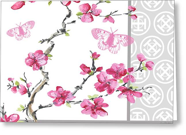 Pink Flower Branch Paintings Greeting Cards - Cherry Blossoms-JP2328 Greeting Card by Jean Plout