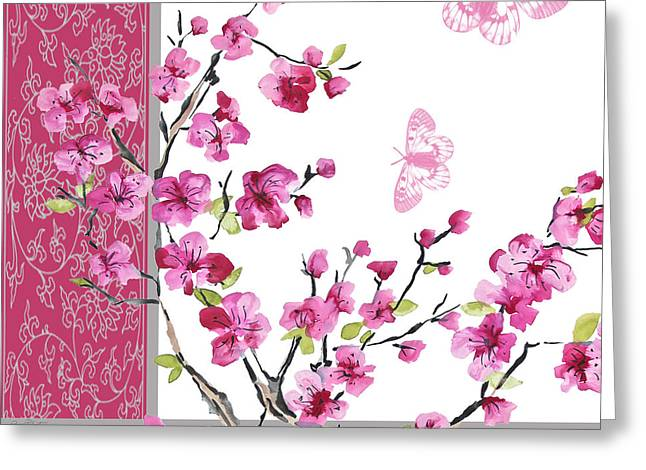 Pink Flower Branch Paintings Greeting Cards - Cherry Blossoms-JP2329 Greeting Card by Jean Plout