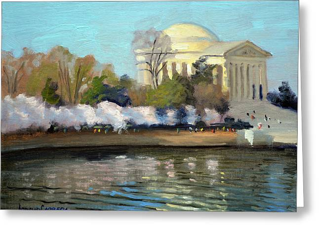 Cherry Blossoms Paintings Greeting Cards - Cherry Blossoms Morning - Washington DC Greeting Card by Armand Cabrera