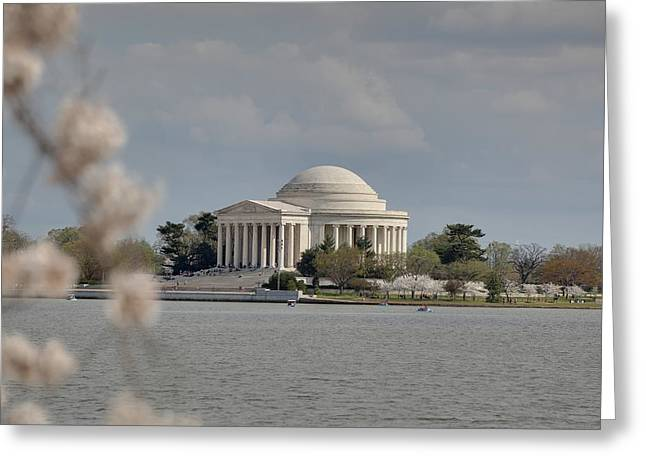 President Greeting Cards - Cherry Blossoms with Jefferson Memorial - Washington DC - 011328 Greeting Card by DC Photographer