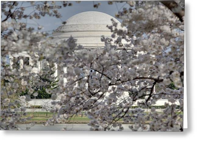 Cherry Blossoms With Jefferson Memorial - Washington Dc - 011334 Greeting Card by DC Photographer