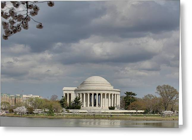 Monuments Greeting Cards - Cherry Blossoms with Jefferson Memorial - Washington DC - 011339 Greeting Card by DC Photographer