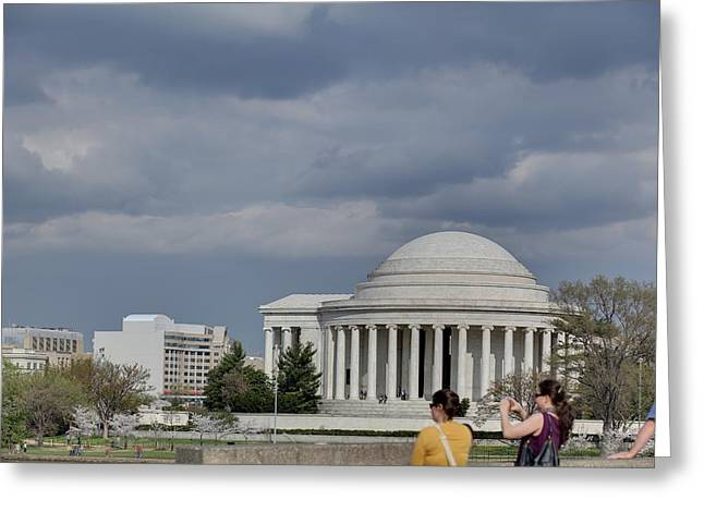 Japan Photographs Greeting Cards - Cherry Blossoms with Jefferson Memorial - Washington DC - 011341 Greeting Card by DC Photographer