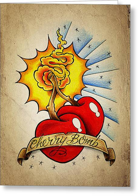 Drawing Color Pencils Drawings Greeting Cards - Cherry Bomb Greeting Card by Samuel Whitton