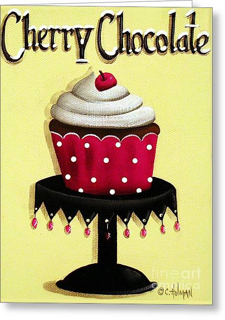 Frosting Greeting Cards - Cherry Chocolate Cupcake Greeting Card by Catherine Holman