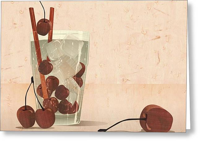 Europe Mixed Media Greeting Cards - Cherry cocktail marqquetry Greeting Card by Zsolt Sesztak