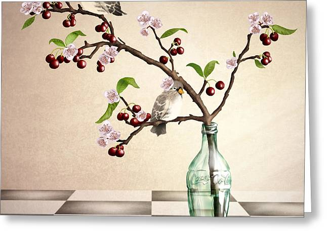Glass Flowers And Leaves Greeting Cards - Cherry Coke Greeting Card by April Moen