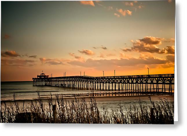 Cherry Greeting Cards - Cherry Grove Pier Myrtle Beach SC Greeting Card by Trish Tritz