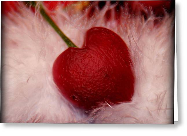 Cherry Heart Greeting Card by Linda Sannuti