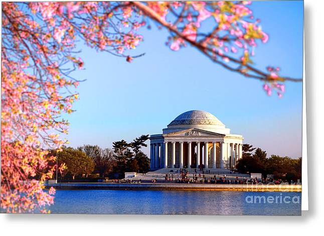 Jefferson Memorial Greeting Cards - Cherry Jefferson Greeting Card by Olivier Le Queinec