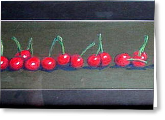 Row Pastels Greeting Cards - Cherries In A Row Greeting Card by Joseph Hawkins