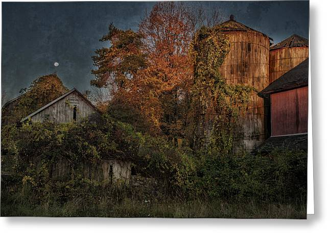 Classic Barn Greeting Cards - Full Moon over Tobins Farm - A Connecticut Autumn Scenic Greeting Card by Thomas Schoeller