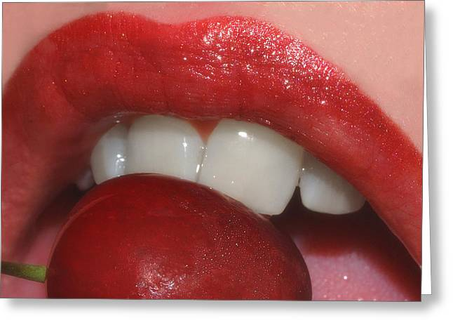 Passion Fruit Greeting Cards - Cherry Lips Greeting Card by Joann Vitali