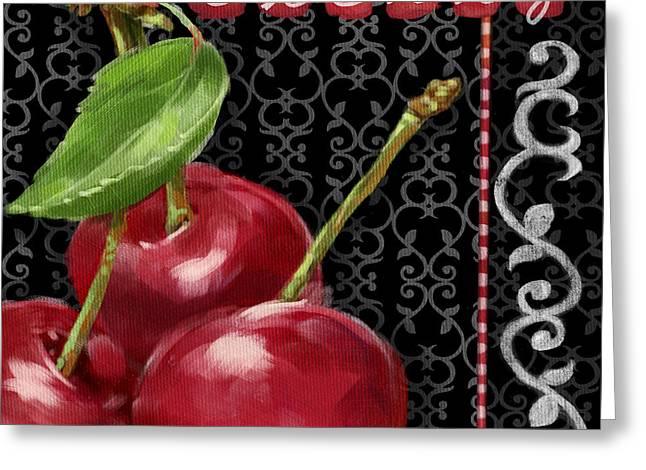 Cherry On Black And White Greeting Card by Shari Warren