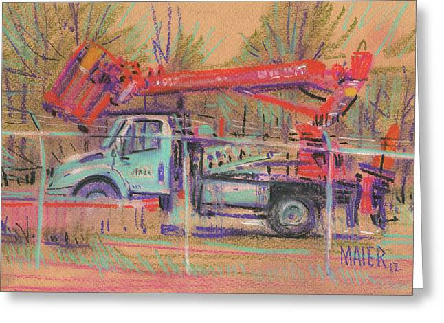 Lines Pastels Greeting Cards - Cherry Picker Greeting Card by Donald Maier