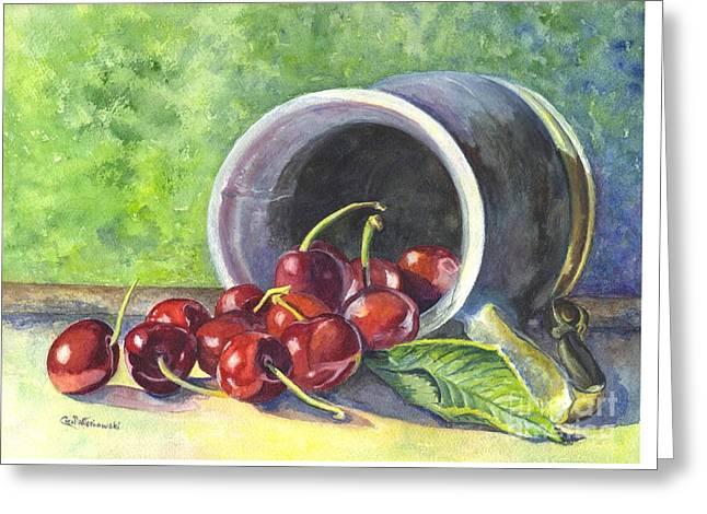 Pewter Mugs Greeting Cards - Cherry Pickins Greeting Card by Carol Wisniewski