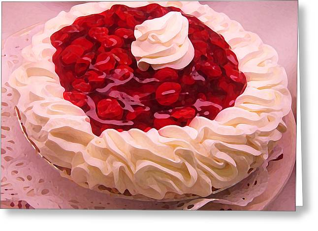 Bakery Poster Greeting Cards - Cherry Pie with  Whip Cream Greeting Card by Amy Vangsgard