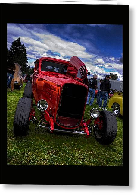 Cherry Red Hot Rod Greeting Card by Thom Zehrfeld