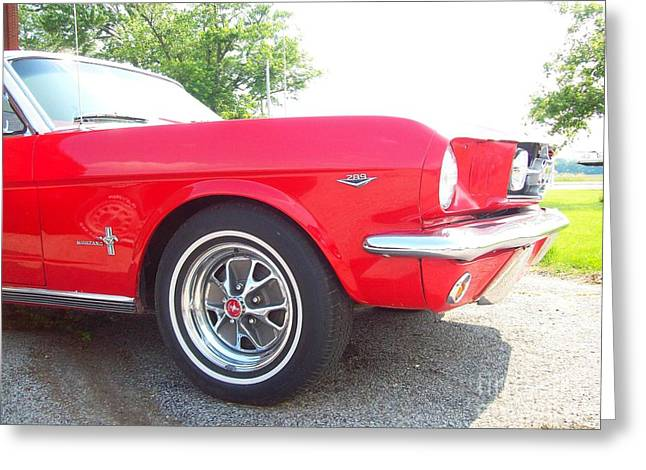 Collector Car Mixed Media Greeting Cards - Cherry Red Mustang Greeting Card by Jackie Bodnar