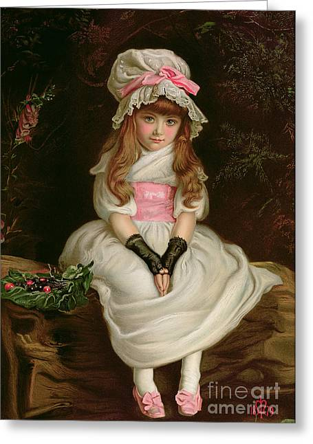 Sentimental Greeting Cards - Cherry Ripe Greeting Card by Sir John Everett Millais